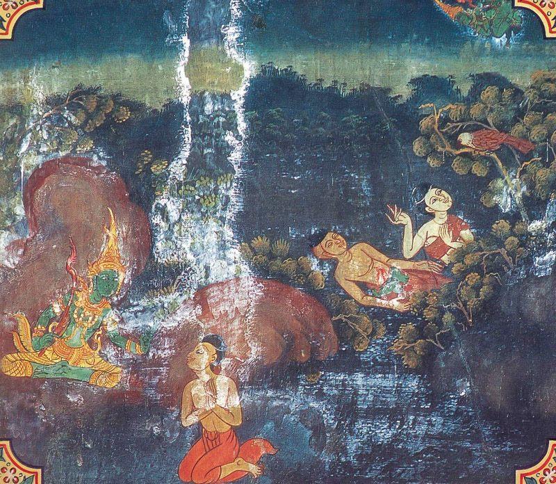 temple painting of Culladhanuggaha Jataka