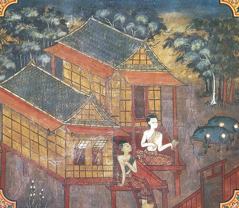 temple painting of Tundila Jataka
