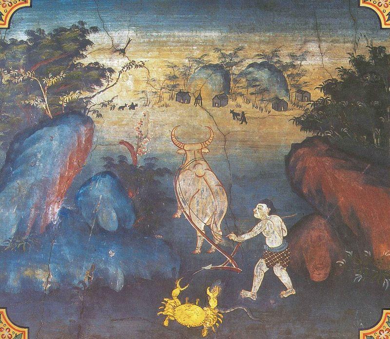 temple painting of Suvannakakkata Jataka