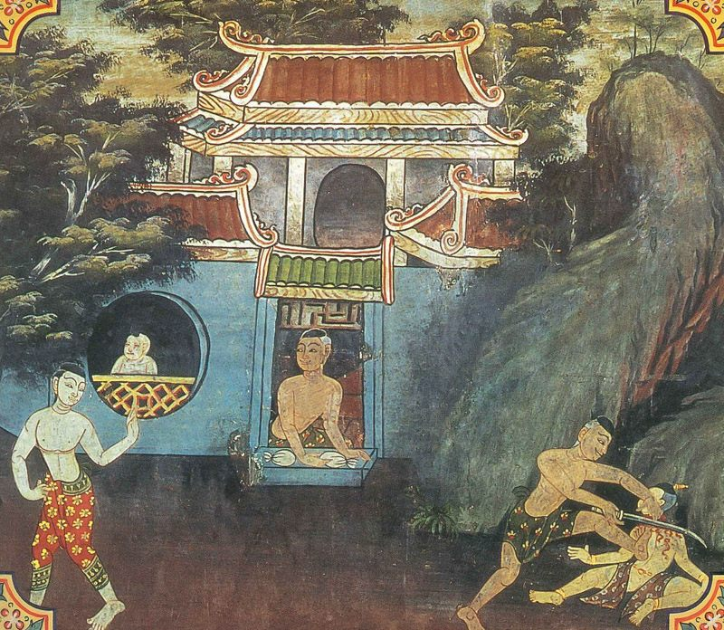 temple painting of Mayhaka Jataka