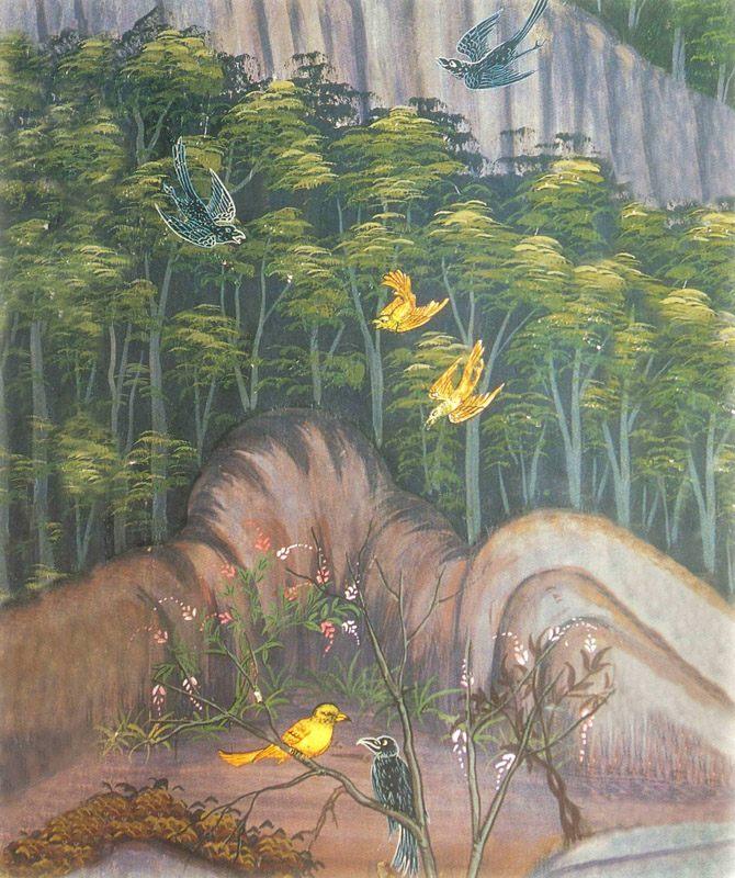 temple painting of Vattaka Jataka