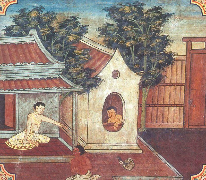 temple painting of Sattubhasta Jataka