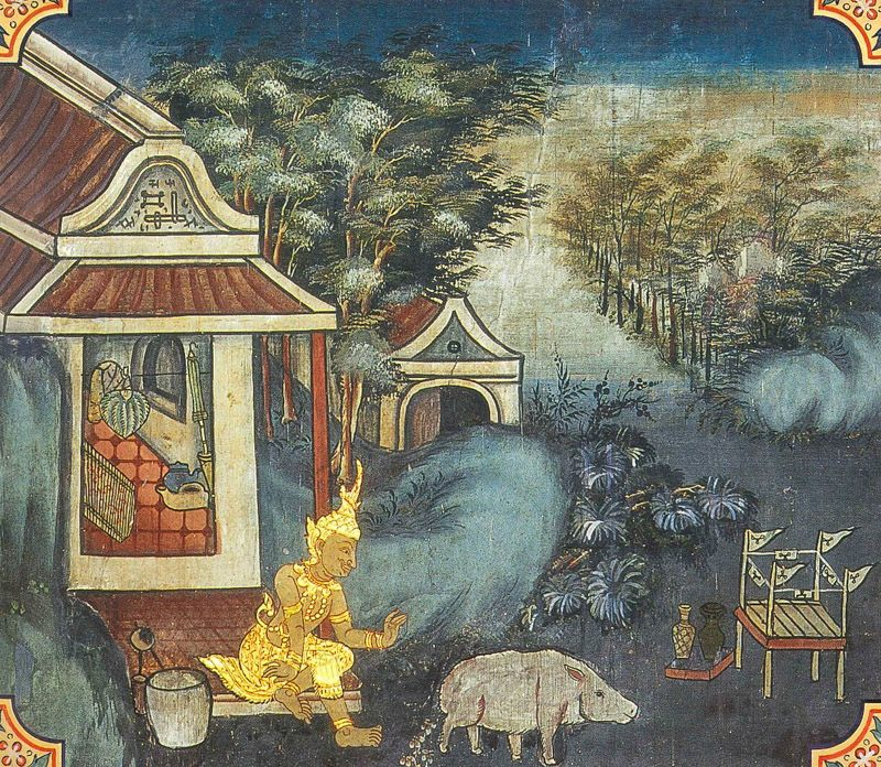 temple painting of Lomasakassapa Jataka