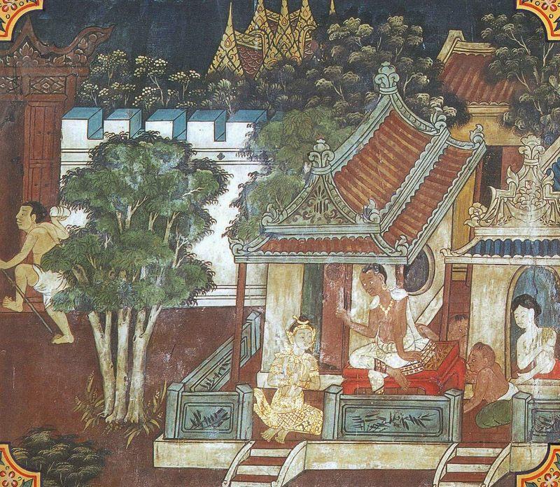 temple painting of Maha-Dhamma-Pala Jataka