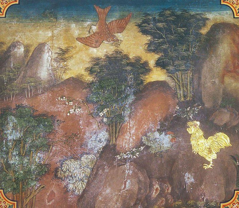 temple painting of Kukkuta Jataka