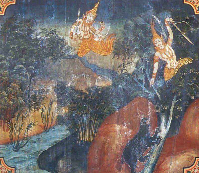temple painting of Phandana Jataka