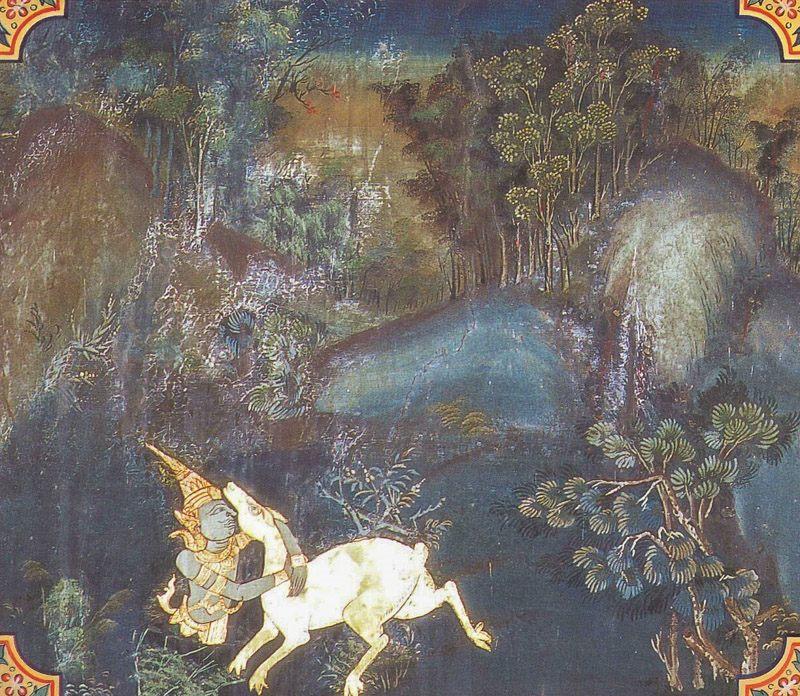 temple painting of Sarabha-Miga Jataka