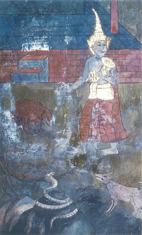 temple painting of Panc-Uposatha Jataka